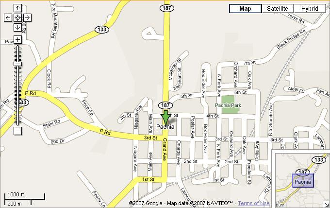 Map of Paonia, Colorado   Marsha Bryan with in Cedaredge, Colorado.